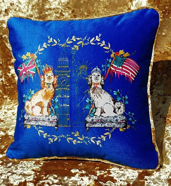 Royal wedding commemorative velvet cushion cover