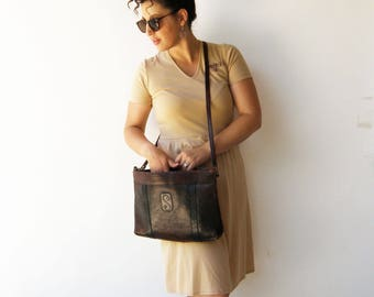Vintage Distressed Leather Bag / XL Brown Leather Bag