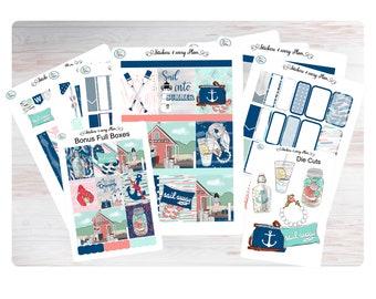 Sail Away with Me Weekly Sticker Kit/ Erin Condren, Happy Planner, B6, Mini Kit