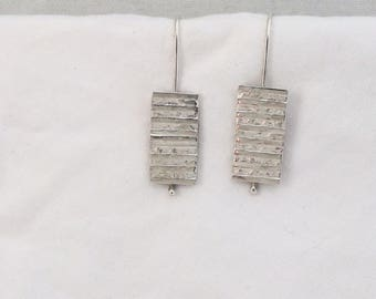 Stacked Silver Argentium Sterling Silver Earrings