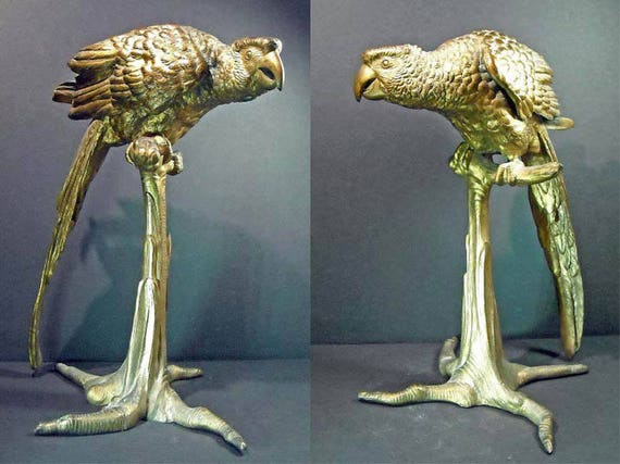 "Antique Bronze Macaw Sculpture with Dore (Gold) Finish  12""   late 19th Century"