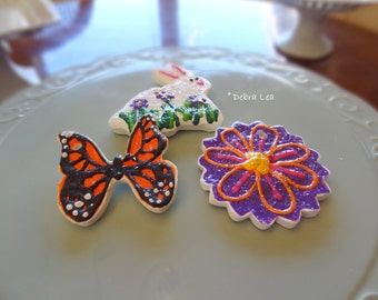 FAKE COOKIE Set of 3 Handmade Fake Cookie Faux  Spring Easter Sugar Cookie Set Bunny  Flower Monarch Butterfly