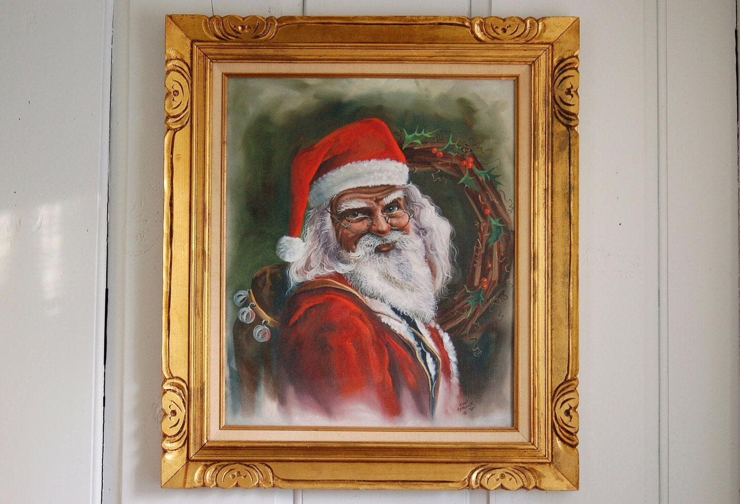 Framed santa claus painting large 32 x 28 signed father description this is a masterful acrylic painting of santa claus framed jeuxipadfo Choice Image