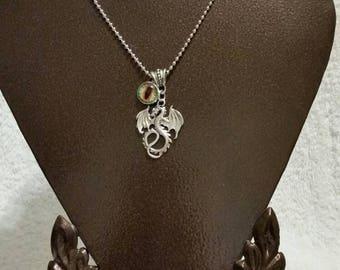 Dragon eye pendant, dragon necklace, silver toned, metal dragon charm, green glass dragon's eye cabochon