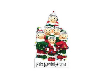 6 Family Tangled in Lights Family / Personalized Christmas Ornament / Large Family / Big Family / Grandchildren / Friends