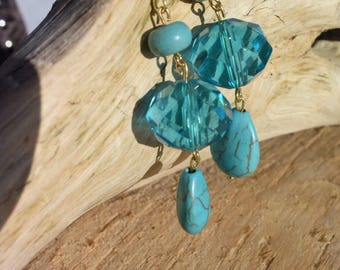 Turquoise with gold dangle
