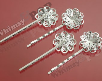 10 - Silver Filigree Bobby Pin Blanks and Findings, Hair Pins, Bobbie Pins, Silver Bobby Pin Blanks,  59MM x 23MM (R6-070,C1-16)