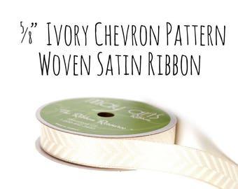 """Ivory Woven Satin Ribbon, 5/8"""" Ribbon, Chevron Ribbon, Arrows Pattern Gift Ribbon, Gift Wrapping, Wedding Supplies, Hair Ribbon/Craft Supply"""