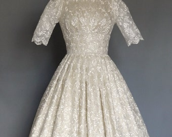 Champagne Silk Dupion and Full Enchanted Lace Tiffany 50s Wedding Dress- Made by Dig For Victory