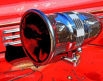 Vintage Firehorn Photo 8x10 Fire Engine Decor for Baby, Kids, Teens Red black vivid print