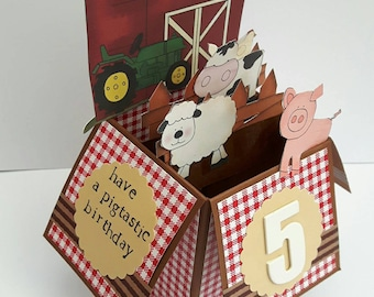 Handmade 3d pop up greeting card - Farm animals theme great for childrens birthdays