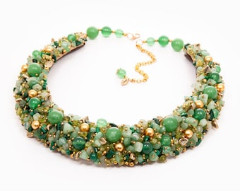 CHARMING GREEN - statement necklace, semi precious stones necklace, beaded necklace