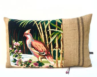 French Tapestry Needlepoint Exotic Bird Grain sack Linen Pillow Cushion Cover
