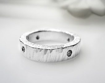Diamonds in Fine Silver Ring - Size 4 1/2 Ready to Ship