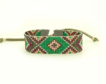 Emerald Green Statement Bracelet - Geometric Bracelet - Tribal Bracelet - Bead Loom Bracelet Rose Gold Burgundy Bracelet - Ethnic jewelry