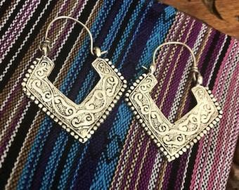 Kuchi earrings - tribal earrings  - silver hoop earrings - silver gilt -tribal jewley - ethnic earrings - ethnic jewelry