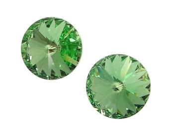 14mm PERIDOT Swarovski Rivoli Stones Article 1122 14mm Swarovski Crystal Light Green Rivolis