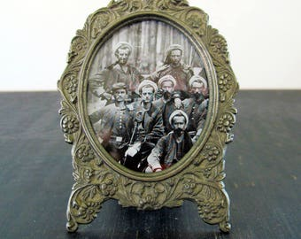 Picture Frame Victorian Revival Style Pewter Oval 3 x 2.25 Picture Ormolu Repousse