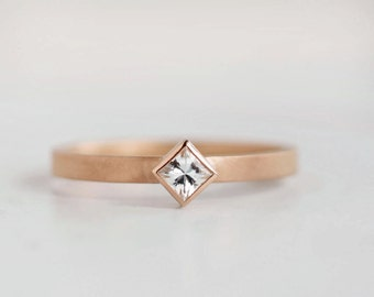 Rose Gold Princess Cut Engagement Ring | 3mm Square Forever Brilliant Moissanite | Eco Friendly Conflict Free Solitaire | Alternative Bridal