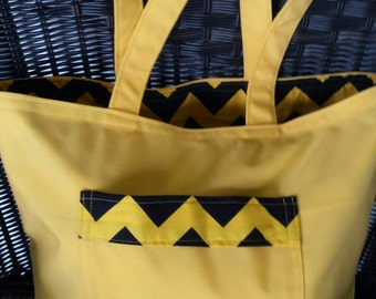 Yellow Beach Tote Bag with Black and Yellow Chevron Lining