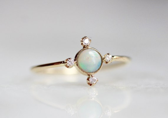 14K Opal Compass Ring Star Ring October