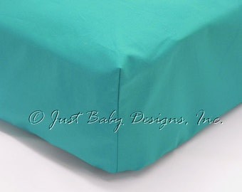 Fitted Crib Sheet - Breakers Teal Solid Cotton