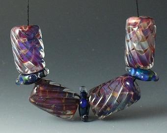 Lampwork beads/SRA lampwork/beads/glass beads/ purple/ruby/spiral cuts/
