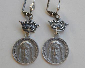 Religious Medal Rosary Earrings Catholic Jesus Shroud of Turin Crown Earrings Religious Assemblage