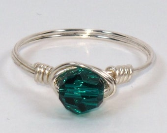 Sterling Silver and Emerald Swarovski Crystal Ring