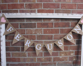 Last Name Banner, Family Banner, Wedding Decor, Anniversary, Family Pictures, Felt Banner, Photo Prop, Burlap, Bunting