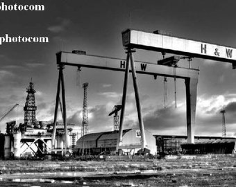 Belfast Skyline - Samson and Goliath Cranes situated at Harland and Wolff in the Titanic Quarter, Belfast