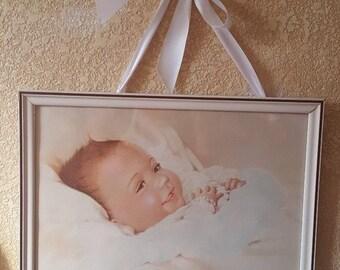 Vintage 1940s Edythe Marie Klapka Precious Awake Framed Baby Print Nursery Decor