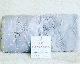 Faux Fur Minky Baby Blanket STARS and MOON theme Baby Shower GIFT Daughter Niece Granddaughter Gray and White