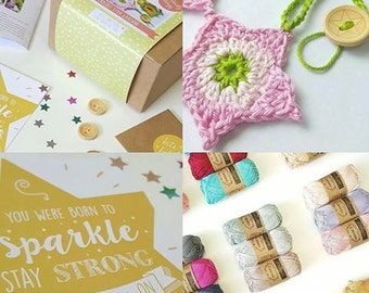 Make your own Crochet Star Garland Kit, DIY craft kit, a kit you can make and then gift. vintage green option