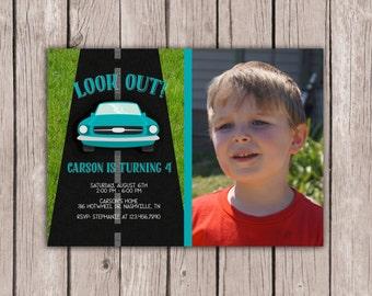PRINTABLE- Photo- Hotwheel Birthday Invite- Cars Birthday Invite- Vehicle Birthday Invite- Boy's Birthday Invite- 5x7 JPG
