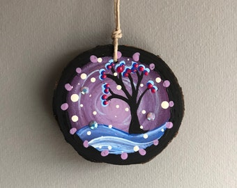 Round Wood Ornament - Flowering Tree