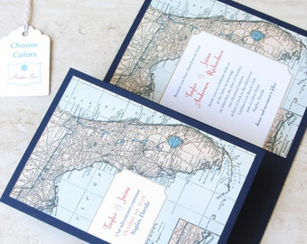 Florida Wedding Invitation Booklet - Vintage Map - Destination Travel Theme - Folded Layered - Choose Your Colors