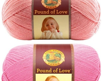 Lion Brand Pound of Love Pastel Pink  or Bubble Gum Baby Yarn Super soft Yarn Worsted weight yarn