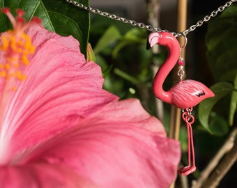 Pink Flamingo necklace / summer style fashion - Women fashion - colorful necklace for everyday - mother day gift