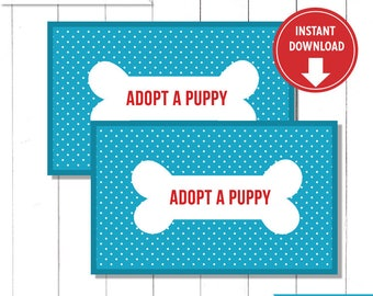 """Blue and Red Puppy Birthday Party """"Adopt a Puppy"""" Tags Labels for Party Favor Boxes  - Instant Download"""