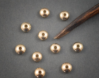 10 pcs - small beaded saucers • • • 14 karat gold plated brass 6mm x 3mm •