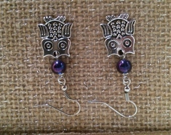 Owl Earrings Silver Earrings Dangle Earrings Blue Bead Gift Fun Paws Claws Feathers Fins Collection Free US Shipping
