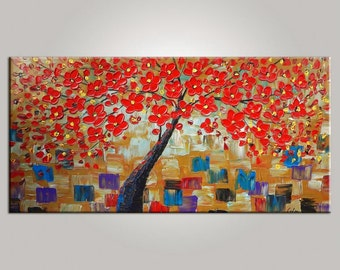 Large Painting, Tree Painting, Oil Painting, Canvas Art, Flower Art, Original Art, Abstract Art, Canvas Painting, Flower Tree Painting