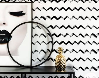 Luxurious chevron pattern self adhesive wallpaper, traditional or removable wallpaper in black
