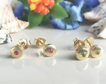 20% off-SALE!!!  ANY Birthstone Earrings - Round Studs - Tiny Posts - Delicate Earrings - Bezel Studs - Simple Earrings - Post Earrings