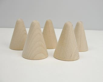 "5 Wooden cones 1 3/4"" tall, wooden contemporary Christmas tree, unfinished DIY"