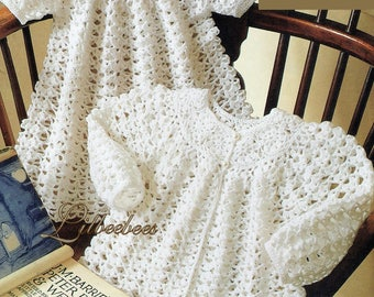Baby Crochet Pattern. PDF Download. Matinee coat, Dress and shoes in 3 Ply yarn. To fit sizes 41,46, 51 cm chest 9-10 cm foot.