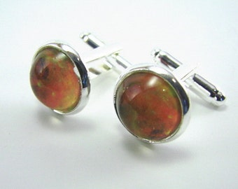 NORTH AMERICA NEBULA Silver Cuff Links -- Star cuff links for a man or woman, Space science art in orange pink & gold, Celebrate technology