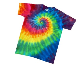 Kids Rainbow Swirl Tee -Your Choice Youth S-L TieDyed Spiral Rainbow T-shirt  100 percent Cotton Teeshirt