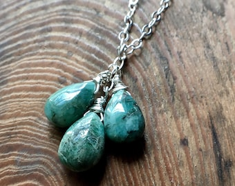 Emerald Necklace, Emerald Briolette Necklace, May Birthstone